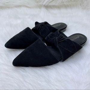 Jeffrey Campbell Charlin Bow Black Suede Mules 7.5